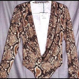 Zara: TRF Long Sleeve Snake Print Bodysuit